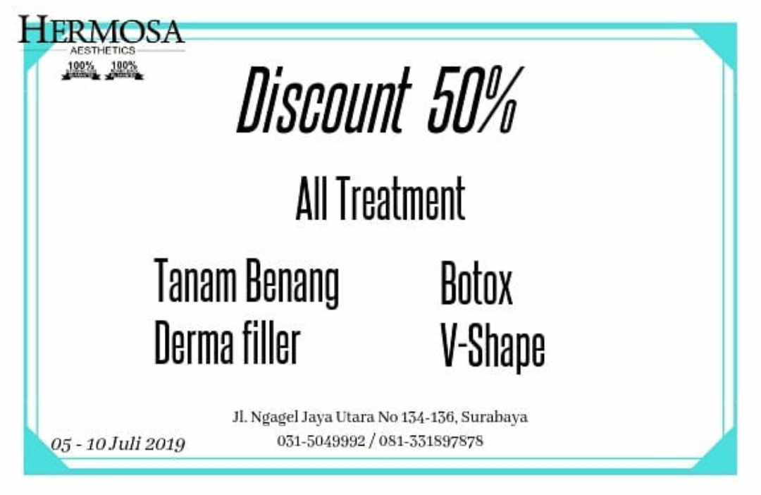DISCOUNT 50% ALL TREATMENT