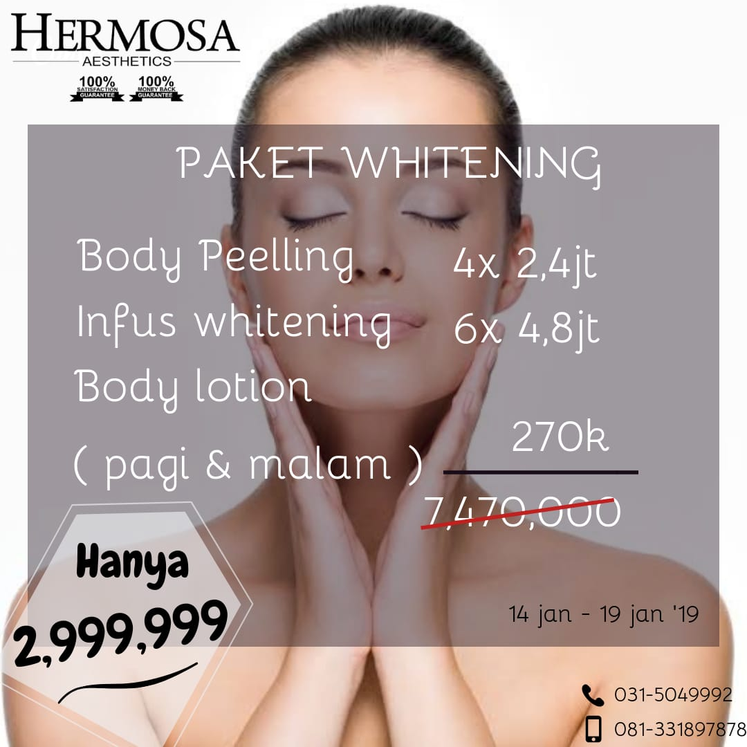 Paket whitening body peeling only IDR 2.999.999
